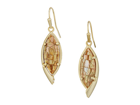 Kendra Scott Max Earrings - Gold/Crackle Brown Mother Of Pearl/White CZ