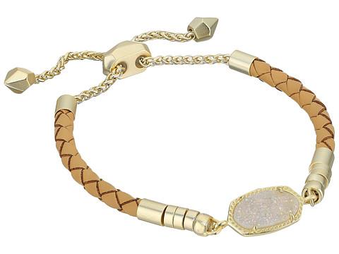 Kendra Scott Cruz Bracelet - Gold/Iridescent/Drusy Tan Braided Genuine Leather