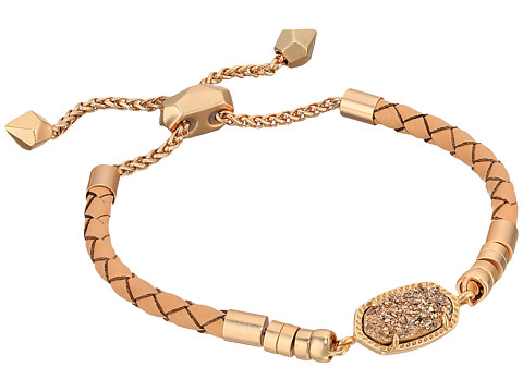 Kendra Scott Cruz Bracelet - Rose Gold/Rose Gold/Drusy Tan Braided Genuine Leather