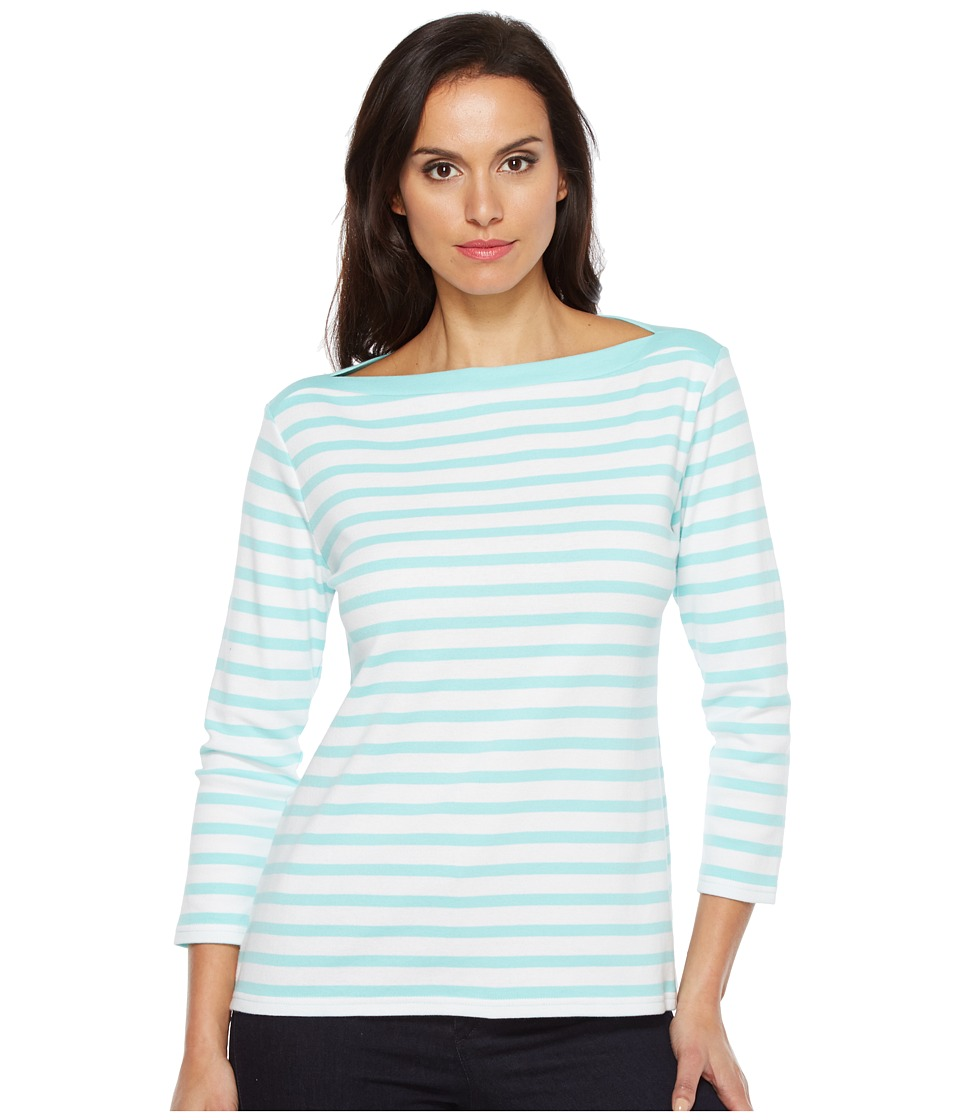 Pendleton Trimmed Stripe Tee (Aqua Sky/White Stripe) Women