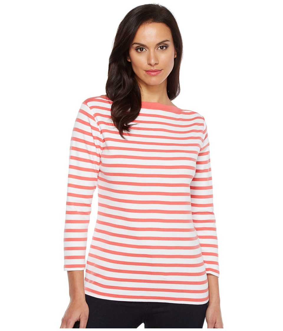 Pendleton Trimmed Stripe Tee (Coral Pink/White Stripe) Women
