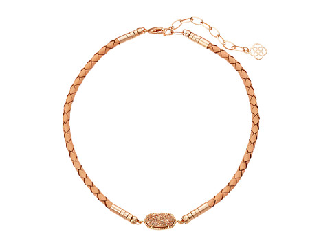 Kendra Scott Cooper Choker Necklace - Rose Gold/Rose Gold Drusy Tan Braided Genuine Leather
