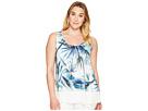 Karen Kane Plus - Plus Size Tropical Sheer Hem Tank Top