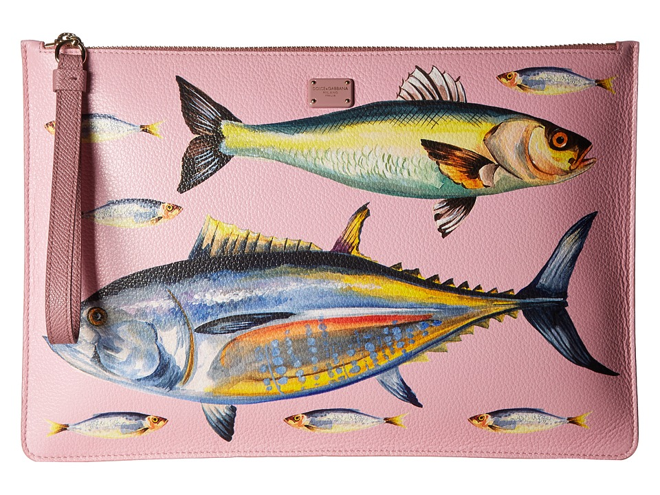 Dolce & Gabbana - Leather Fish Pouch (Pink/Fish) Travel Pouch
