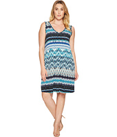 Karen Kane Plus - Plus Size Batik Stripe Bridgitte Dress