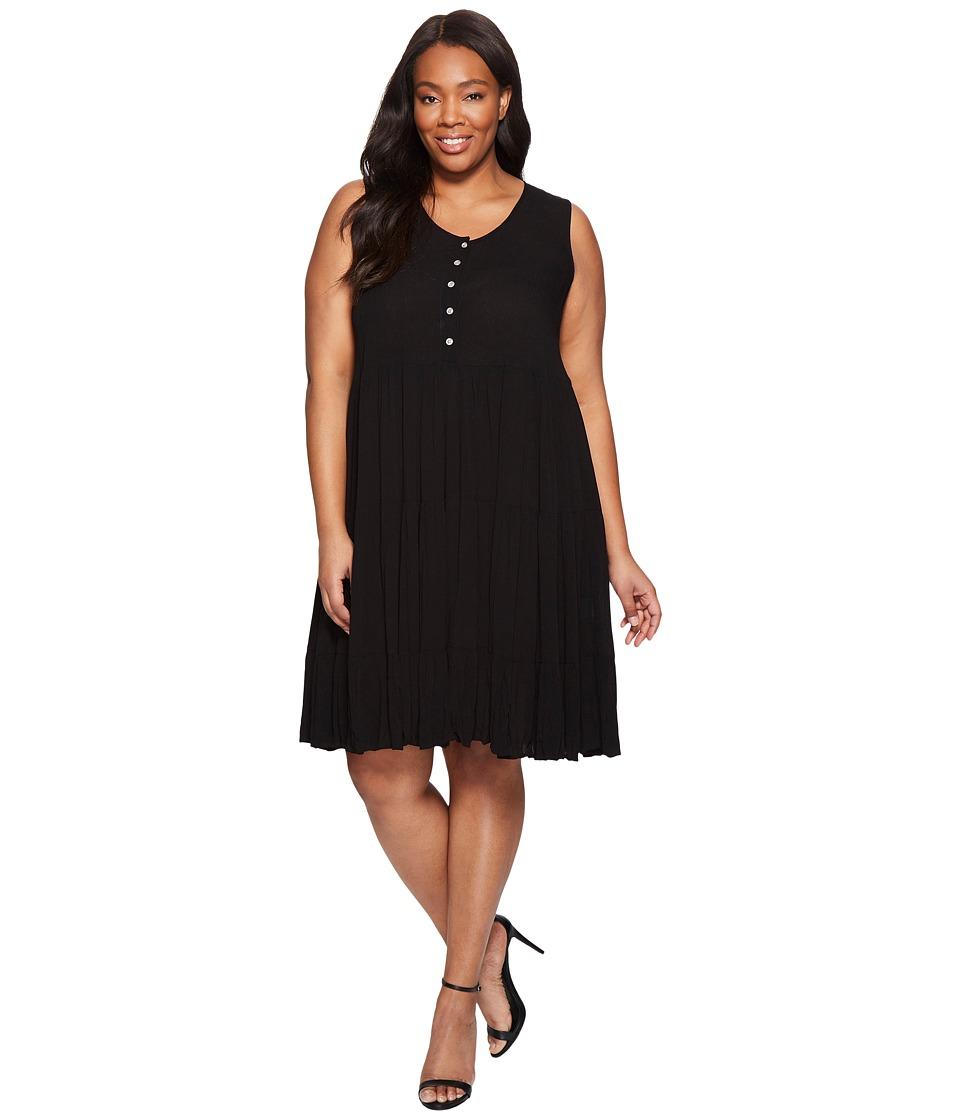 Karen Kane Plus Plus Size Tiered Dress (Black) Women