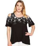 Karen Kane Plus - Plus Size Floral Print Cold Shoulder Top