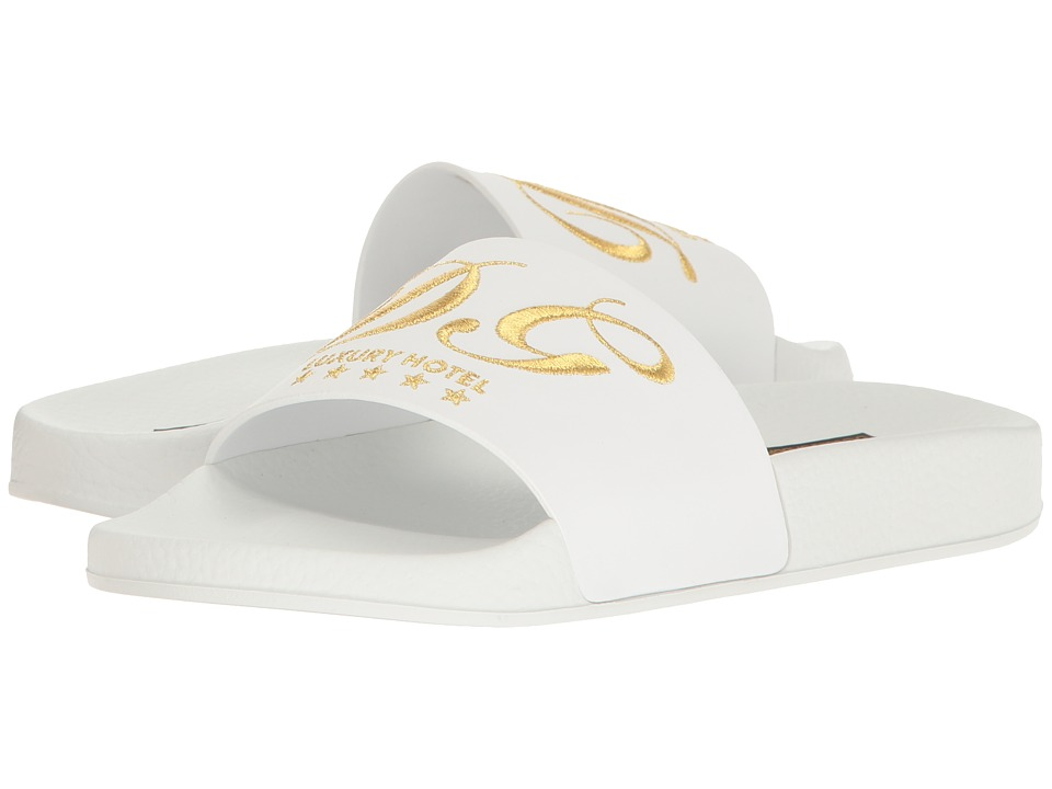 Dolce & Gabbana Rubberized Leather DG Pool Slide (White) Women