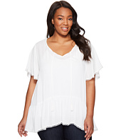 Karen Kane Plus - Plus Size Lace Trim Short Sleeve Top