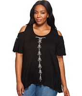 Karen Kane Plus - Plus Size Embroidered Cold Shoulder Top