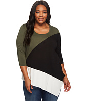 Karen Kane Plus - Plus Size Color Block Angle Top