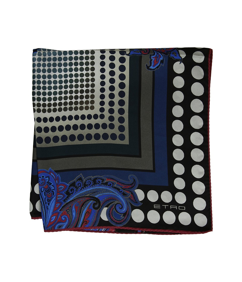 Etro - 45 X 45 Bangalore Pocket Square (Black) Ties
