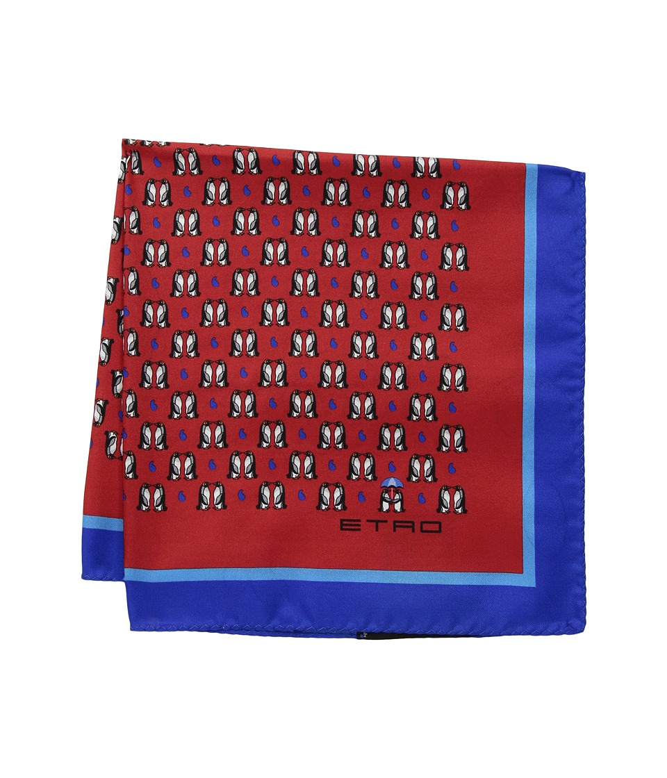 Etro - 35 X 35 Jamul Pocket Square (Red) Ties