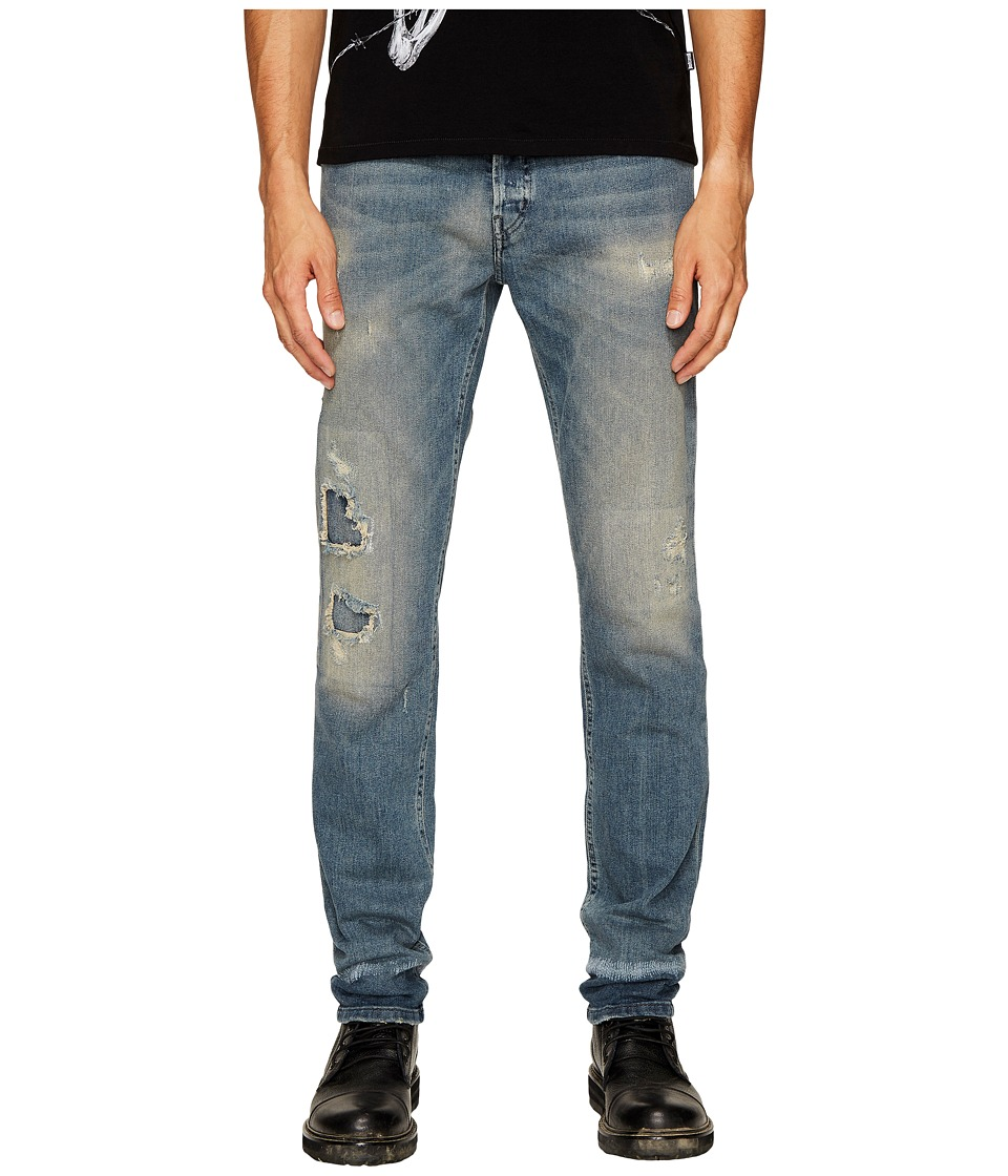 Just Cavalli Super Slim Fit Jeans in Blue Distressed (Blue Distressed) Men