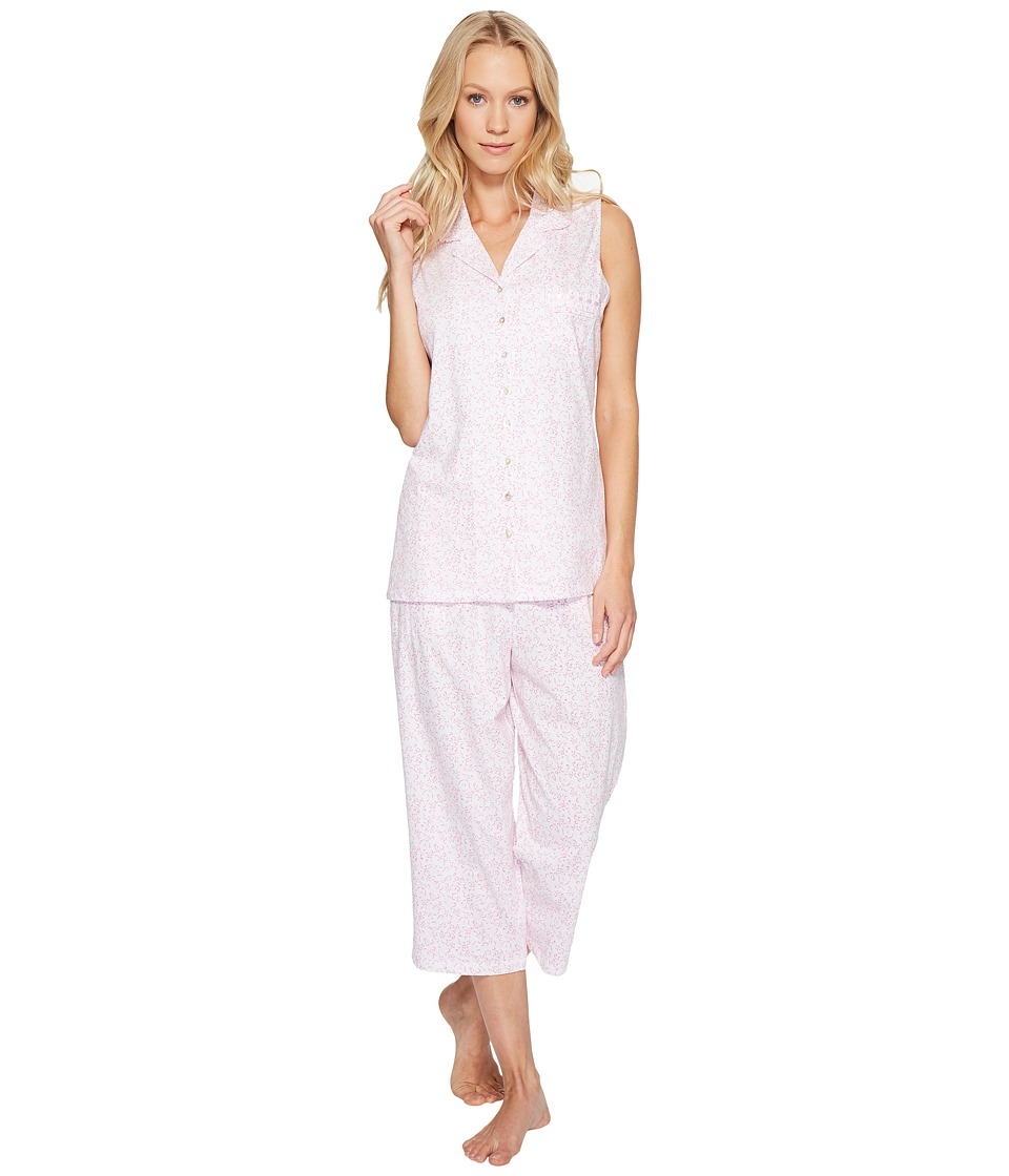 Eileen West - Cotton Jersey Notch Collar Capris PJ