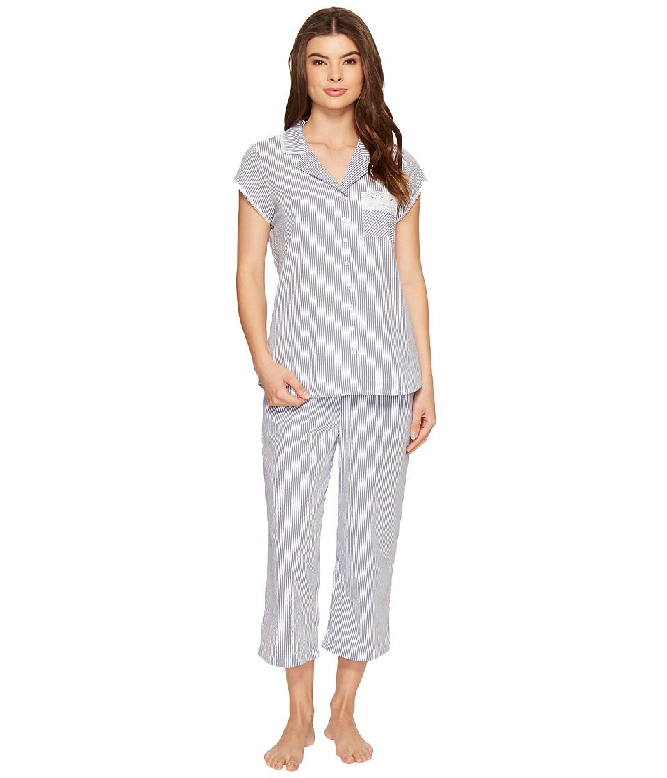 Eileen West - Seersucker Notch Collar Capris PJ