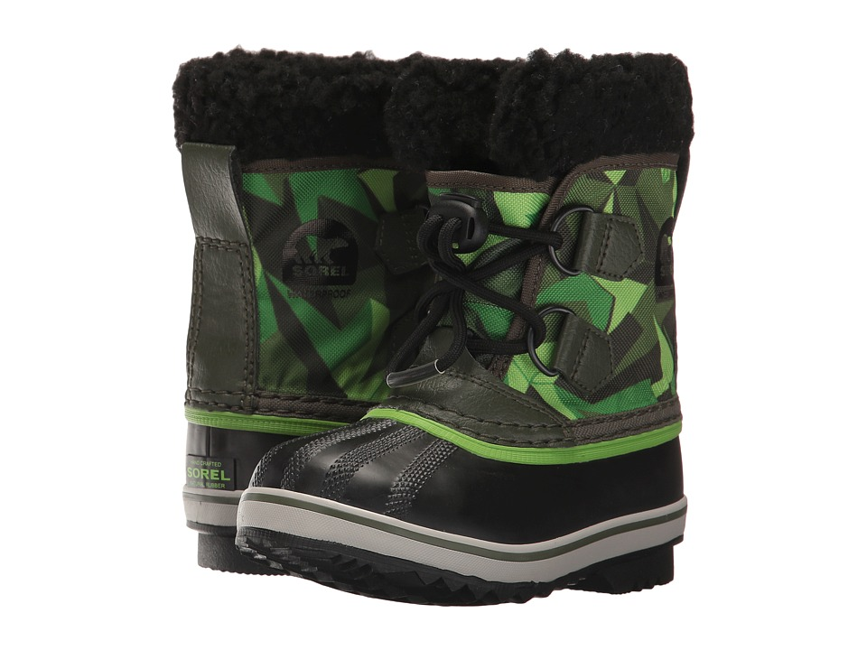 SOREL Kids Yoot Pac Nylon Print (Toddler/Little Kid) (Surplus Green/Green Mamba) Boys Shoes