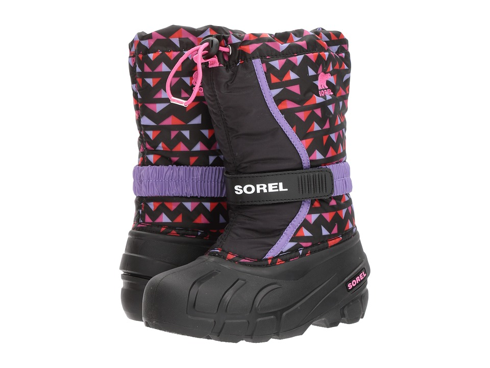 SOREL Kids Flurry Print (Toddler/Little Kid/Big Kid) (Black/Pink Ice) Girls Shoes