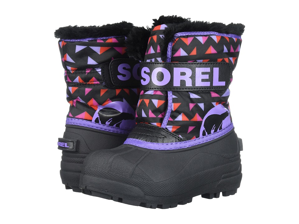 SOREL Kids Snow Commander Print (Toddler/Little Kid) (Black/Paisley Purple) Girls Shoes