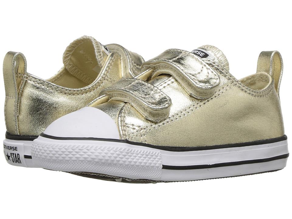 Converse Kids Chuck Taylor All Star Metallic Canvas Ox (Infant/Toddler) (Light Gold/White/Black) Girl