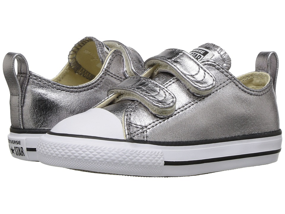 Converse Kids Chuck Taylor All Star Metallic Canvas Ox (Infant/Toddler) (Metallic Gunmetal/White/Black) Girl