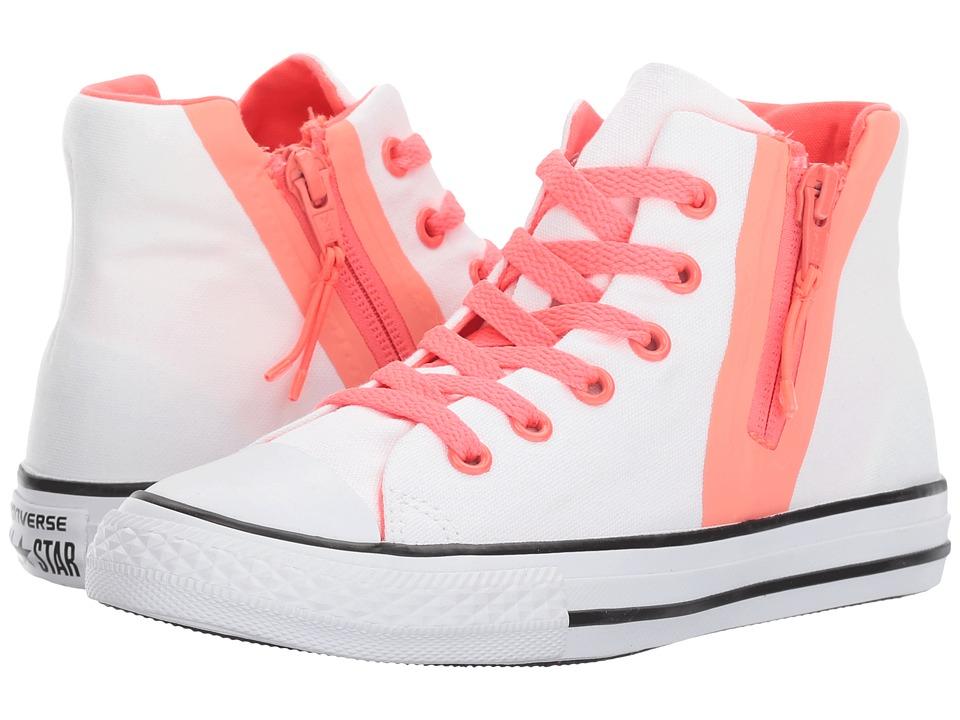 Converse Kids Chuck Taylor All Star Sport Zip Hi (Little Kid/Big Kid) (White/Sun Blush/Hot Punch) Girl