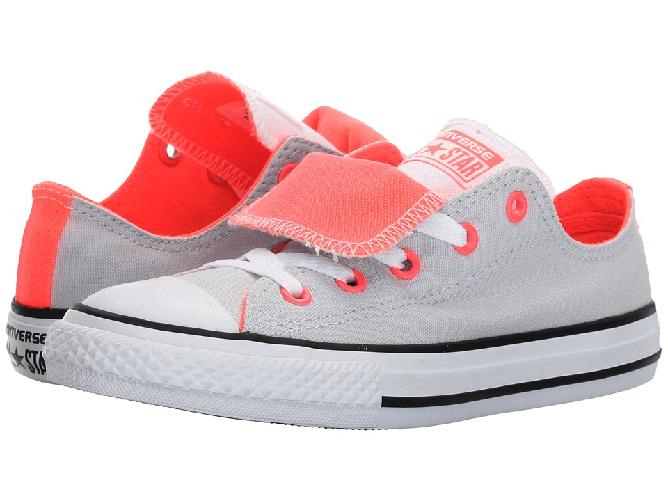 Converse Kids Chuck Taylor All Star Double Tongue Ox (Little Kid/Big Kid) (Pure Platinum/White/Hot Punch) Girl
