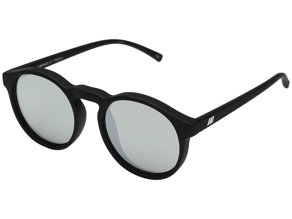 Le Specs Cubanos (Black Rubber/Silver Revo Mirror) Sport Sunglasses