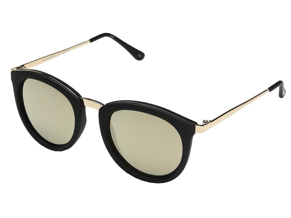 Le Specs No Smirking (Matte Black/Gold Revo Mirror) Fashion Sunglasses
