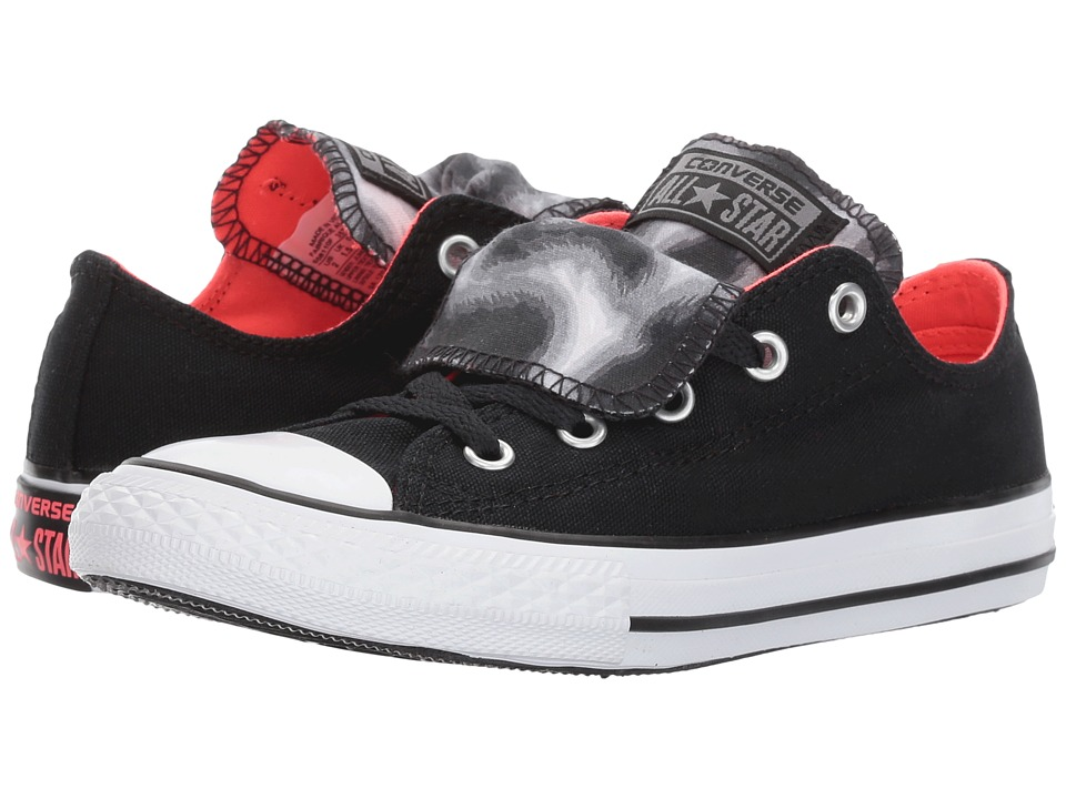 Converse Kids Chuck Taylor All Star Double Tongue Animal Ox (Little Kid/Big Kid) (Black/Hot Punch/White) Girl