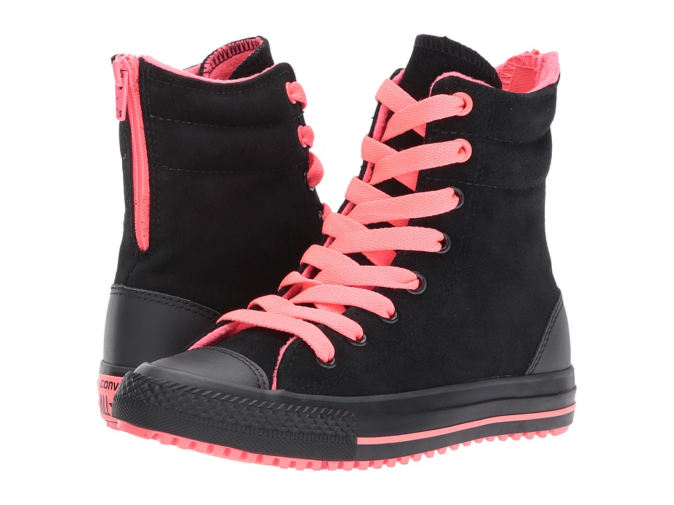 Converse Kids - Chuck Taylor All Star X Hi-Rise Boot (Little Kid/Big Kid) (Black/Hot Punch/Almost Black) Girls Shoes