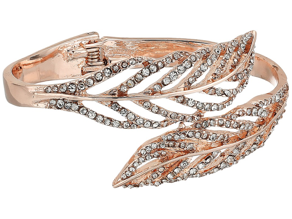 GUESS - Feather Bypass Hinge Bangle (Rose Gold/Crystal) Bracelet