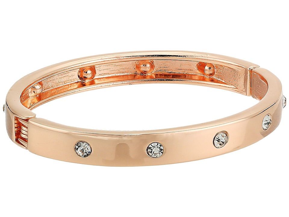 GUESS - Hingle Bangle w/ Crystal Accents (Rose Gold/Crystal) Bracelet