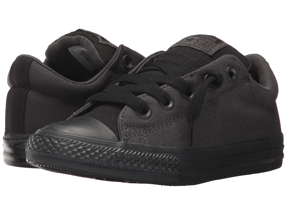 Converse Kids Chuck Taylor All Star Street Tonal Canvas Slip (Little Kid/Big Kid) (Almost Black/Black/Storm Wind) Boy's Shoes