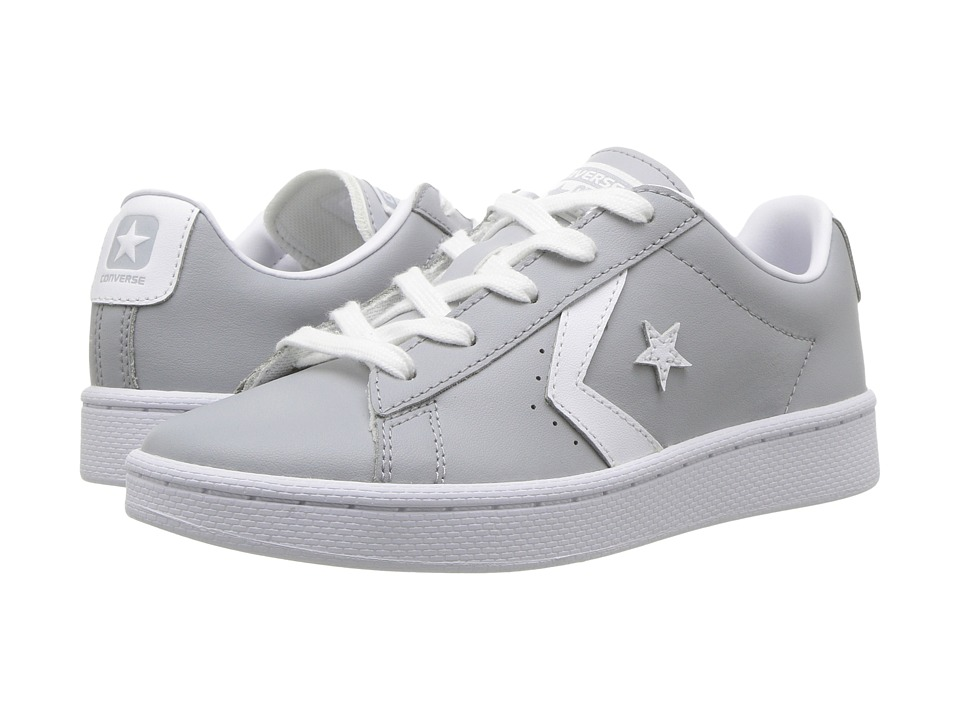 Converse Kids - PL 76 Foundational Leather Ox (Little Kid/Big Kid) (Wolf Grey/White/White) Boys Shoes