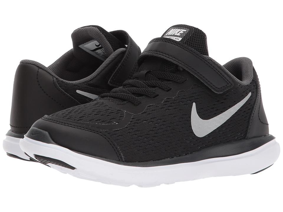 Nike Kids Flex RN 2017 (Little Kid) (Black/Metallic Silver/Anthracite/White) Boys Shoes