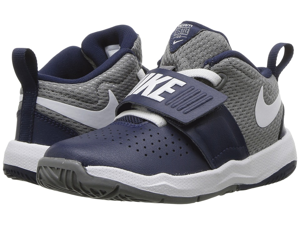 Nike Kids Team Hustle D8 (Infant/Toddler) (Midnight Navy/White/Cool Grey) Boys Shoes