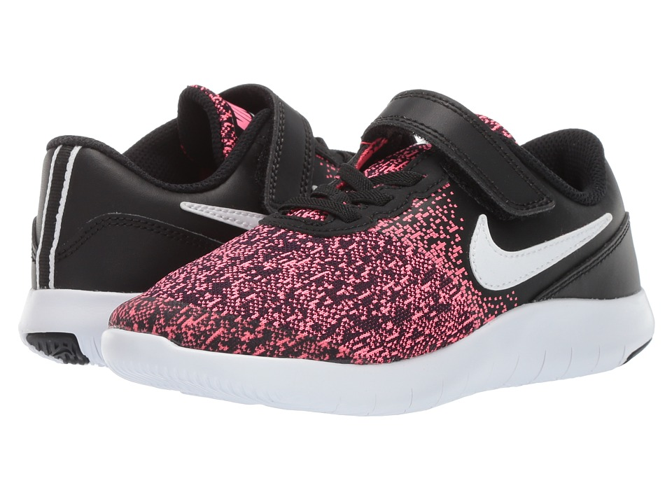 Nike Kids Flex Contact PSV (Little Kid) (Black/White/Racer Pink) Girls Shoes