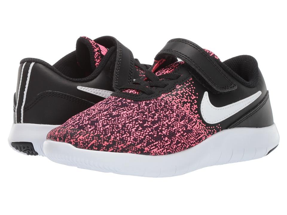 Nike Kids Flex Contact PSV (Little Kid) (Black/White/Racer Pink) Girls Shoes