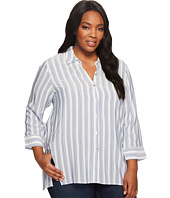 B Collection by Bobeau Curvy - Plus Size Button Front Shirt