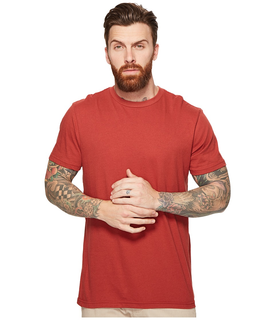 RVCA Label Vintage Wash Tee (Rosewood) Men