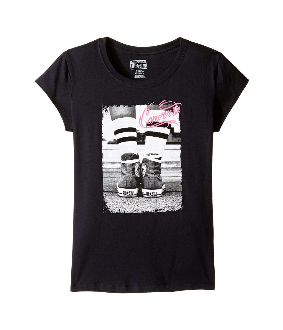 Converse Kids Vintage Chuck Short Sleeve Tee (Big Kids) (Black) Girl