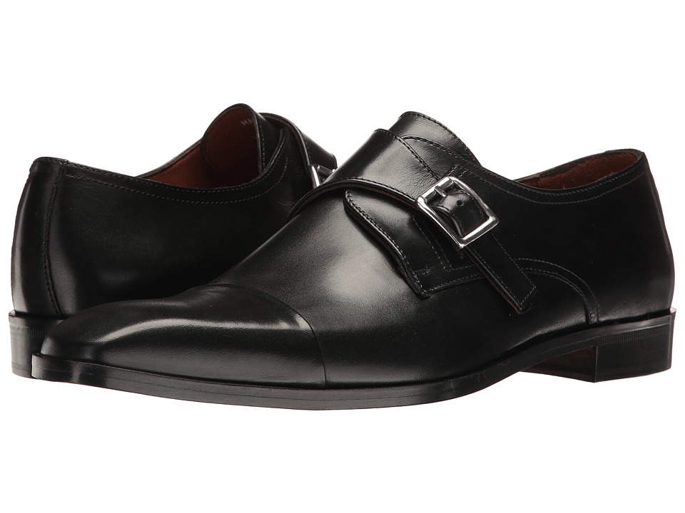 1960s Style Men's Clothing, 70s Men's Fashion Massimo Matteo - Single Monk Cap Toe Black Mens Shoes $165.00 AT vintagedancer.com
