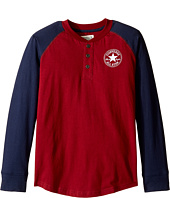 Converse Kids - Long Sleeve Graphic Henley Top (Big Kids)