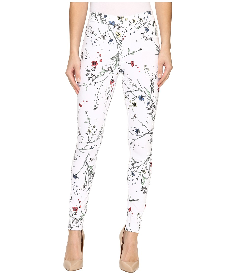 HUE Floral Curvy Fit Denim Leggings (White) Women