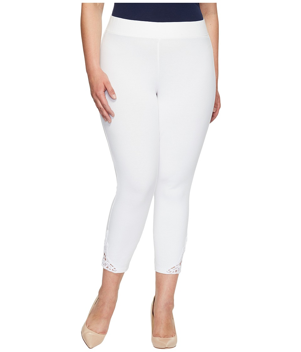 HUE Plus Size Wide Waistband Lace Trim Pique Capris (White) Women