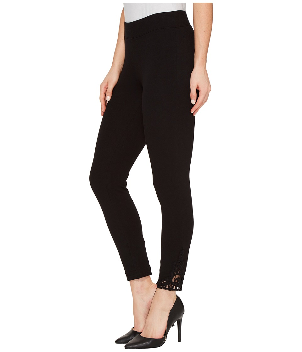 HUE Wide Waistband Lace Trim Pique Capris (Black) Women