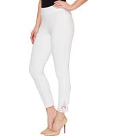 HUE - Wide Waistband Lace Trim Pique Capris