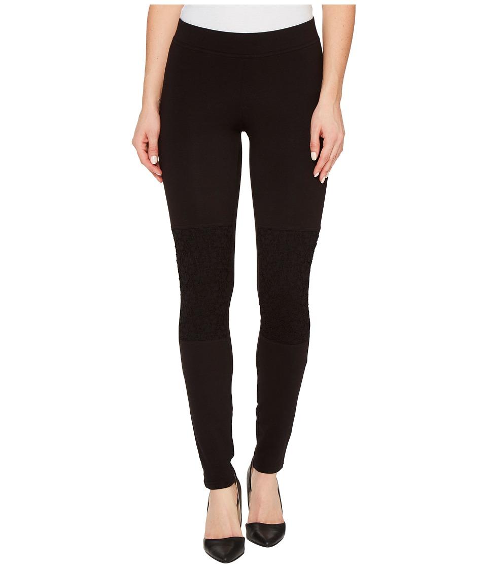 HUE Lace Knee Cotton Leggings (Black) Women