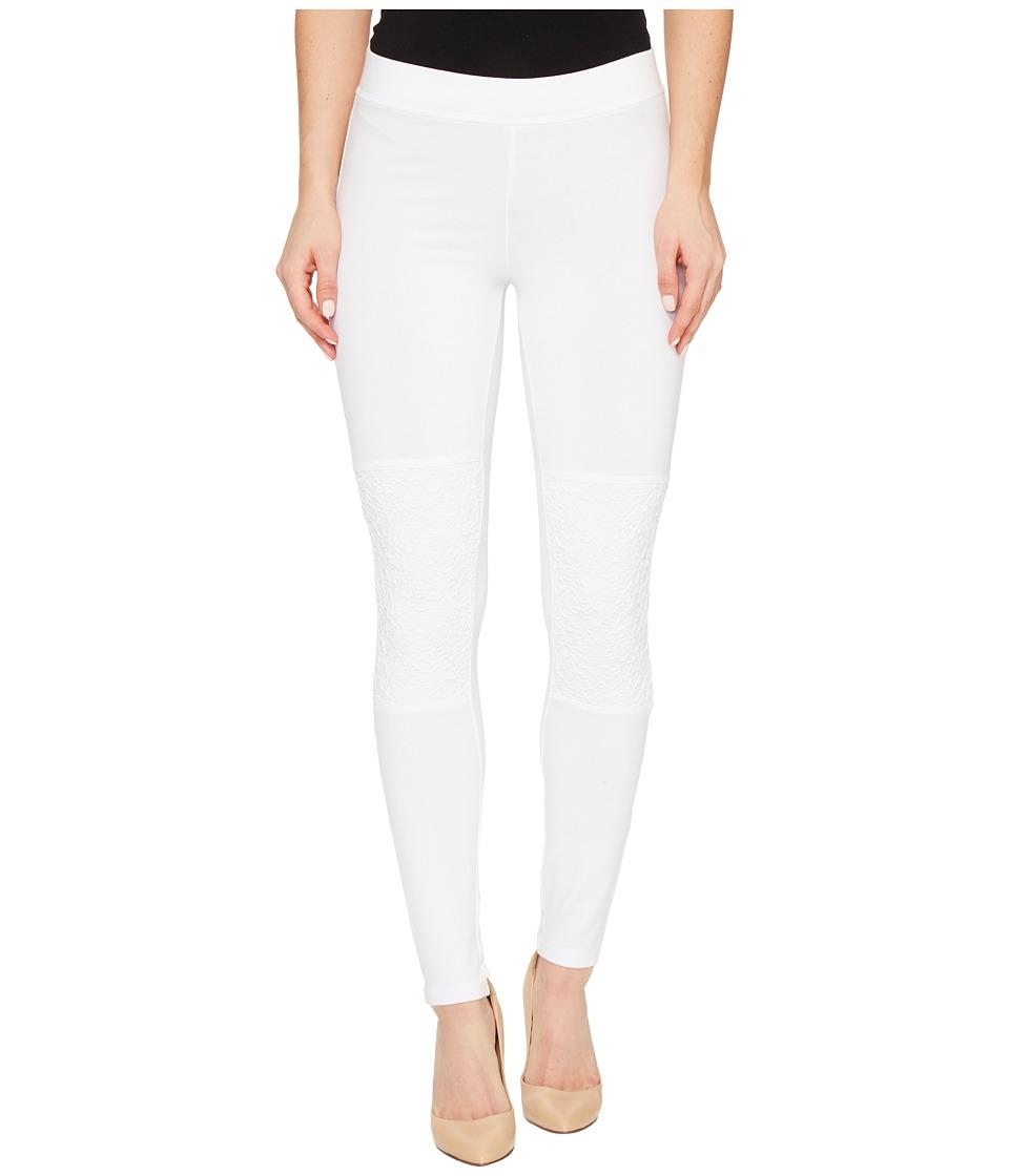 HUE Lace Knee Cotton Leggings (White) Women